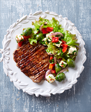 Grass-Fed Steak with Olive, Tomato & Feta Salad