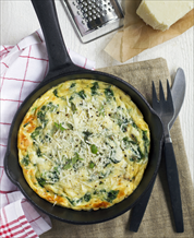 Greek Frittata with Spinach, Feta and Olives  and Raspberry-Almond Salad