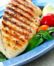Greek Style Chicken Breasts with Mixed Green Avocado Salad and Lemon Vinaigrette