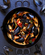 Coconut Curry Mussels, Zucchini Spaghetti and Ginger-Spiced Squash