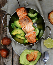 Grilled Salmon Skewers with Avocado and Lemon