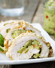 Guacamole-Stuffed Chicken Roulades and Oven-Roasted Asparagus