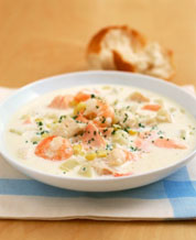 Halibut Chowder with Mixed Green Salad