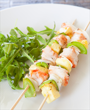 Halibut Kebabs with Avocado-Lime Salsa