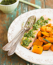 Wild Salmon with Artichoke Pesto, Roasted Butternut Squash and Wilted Spinach