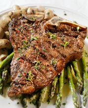 Herb-Rubbed Grass-Fed Steaks with Sauteed Mushrooms and Asparagus