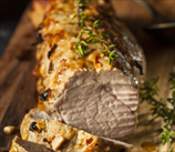 Herbed Pork Tenderloin with Garlic Beet Greens