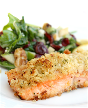 Horseradish Salmon & Wilted Spinach with Tomatoes