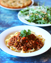 Instant Pot Bolognese with Paleo Fettuccine and Arugula Salad