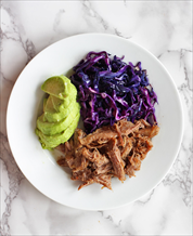 Instant Pot Kalua Pork with Duck Fat Braised Red Cabbage and Avocado