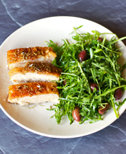 Instant Pot Rosemary Pork Belly and Arugula Kalamata Salad