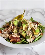 Keto Chicken Bacon Salad with Avocados and Green Goddess Dressing