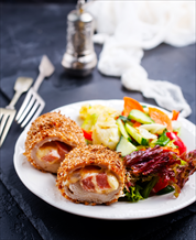 Keto Chicken Cordon Bleu with Dijon Cream Sauce and Green Salad