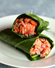 Keto Dill Salmon Collard Wraps