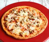 Keto Fathead Pizza with Sausage and Pepperoni