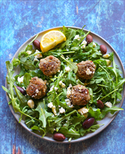 Keto Greek Meatballs with Arugula, Feta and Kalamata Salad