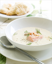 Keto Salmon Chowder and Drop Biscuits