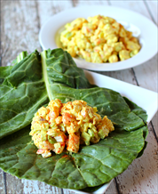 Keto Curry Shrimp Salad Collard Wraps