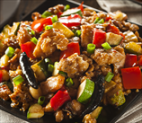 "Kung Pao Chicken over Zucchini ""Noodles"""