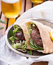 Lamb Burgers in Grain-Free Pitas with Paleo Tzatziki Sauce