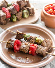 Lamb Kebabs, Asparagus and Greek Salad