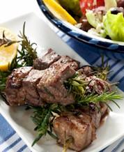 Lamb Skewers, Mediterranean Quinoa Salad & Broccoli Raab