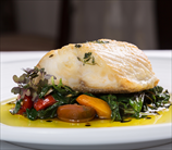 Lemon-Poached Mahi Mahi and Swiss Chard