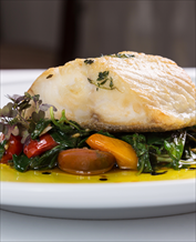 Lemon Poached Mahi Mahi with Swiss Chard