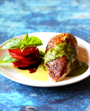 Mediterranean Chicken with Pesto and Tomato-Basil Salad