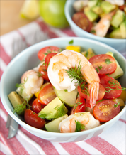 Mediterranean Chopped Salad with Shrimp and Lemon-Dill Dressing