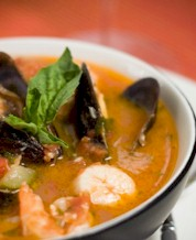 Mediterranean Seafood Soup, Herbed Quinoa & Broccoli Raab