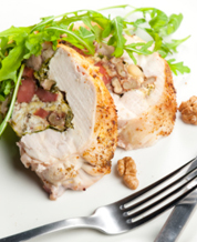 Mediterranean Stuffed Chicken Breasts and Arugula, Chickpea & Roasted Red Pepper Salad with Balsamic Vinaigrette