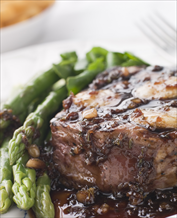 Mock Filet Mignon with Mushroom Wine Sauce and Sautéed Asparagus