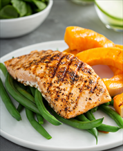 Moroccan Spiced Salmon with Green Beans and Butternut Squash