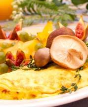 Mushroom Cheddar Omelet & Berries