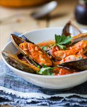 Mussels Fra Diavolo with Zoodles and Paleo Focaccia