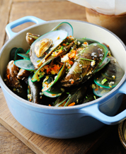 Mussels Provencale, Paleo Focaccia & Spicy Broccoli Raab
