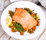 Mustard Baked Salmon with Lentils