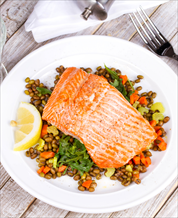 Mustard Baked Salmon with Lentils and Arugula Salad