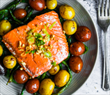One Pan Salmon with Olives & Asparagus