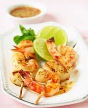 Orange-Ginger Shrimp Kebabs  and Asian Veggie Stir Fry with Almonds