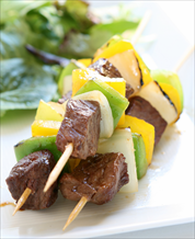 Paleo Beef Kebabs and Kale Salad