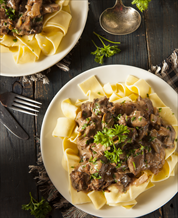 Paleo Beef Stroganoff with Grain-Free Noodles and Broccoli Rabe