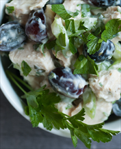 Paleo Chicken Salad with Grapes over Arugula