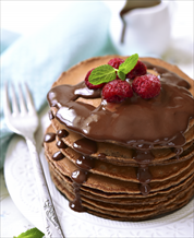 Paleo Chocolate Pancakes with Chocolate Glaze