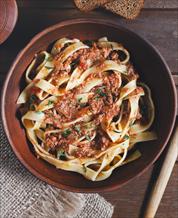 Paleo Fettuccini Bolognese with Sauteed Broccoli Raab