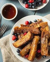 Keto-Paleo French Toast Sticks with Blueberry Compote & Sausage