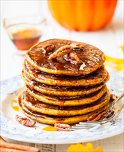 Paleo Pumpkin Pancakes with Blueberries and Bacon