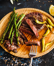 Pan-Grilled Flank Steak + Asparagus + Avocado-Arugula Salad