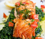 Pan-Roasted Wild Salmon with Grape Tomatoes and Wilted Spinach